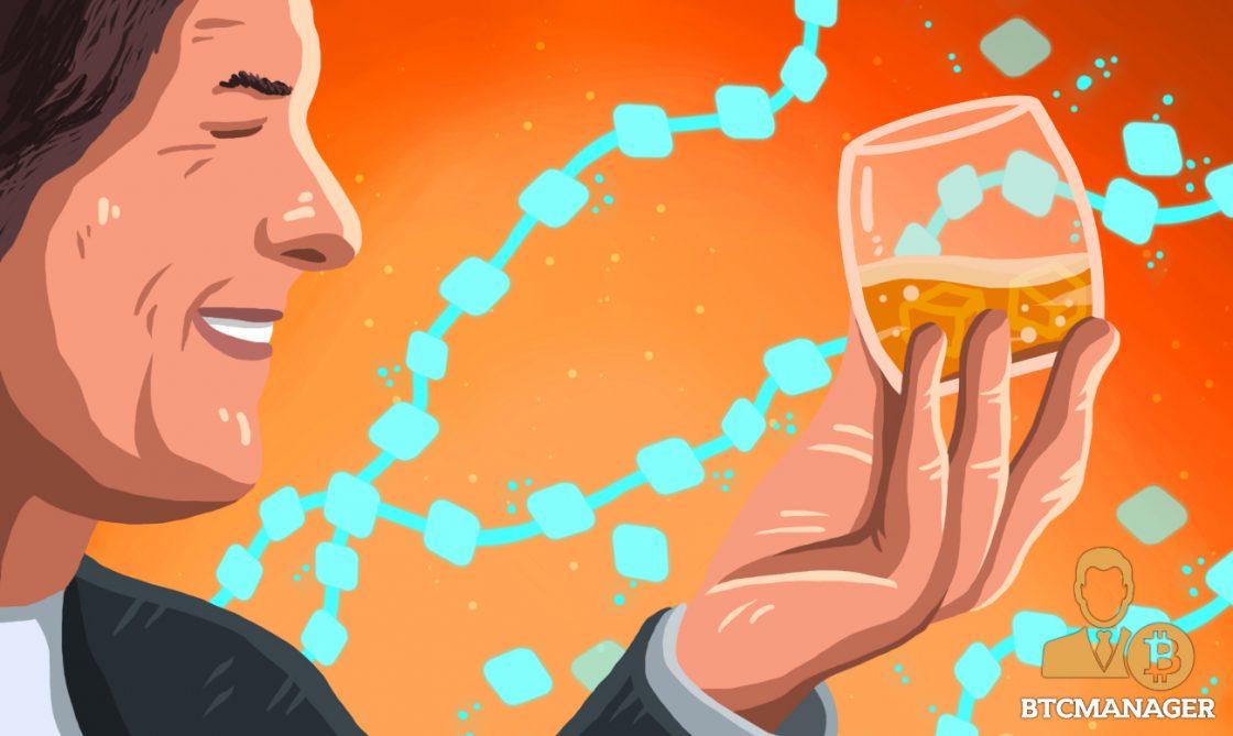 Man Whiskey Orange Glass Blockchain Happy
