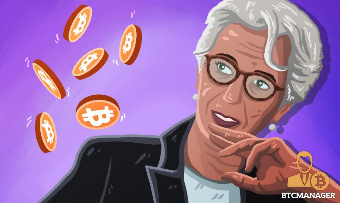 Lagarde staring at bitcoin btc